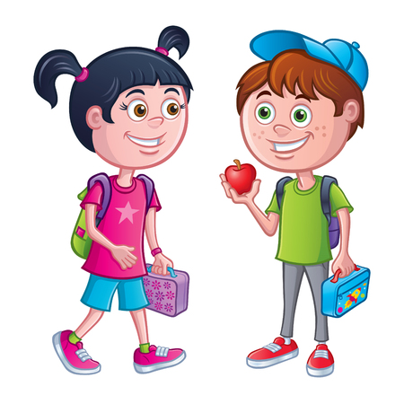 Girl and boy with Backpacks and Lunches