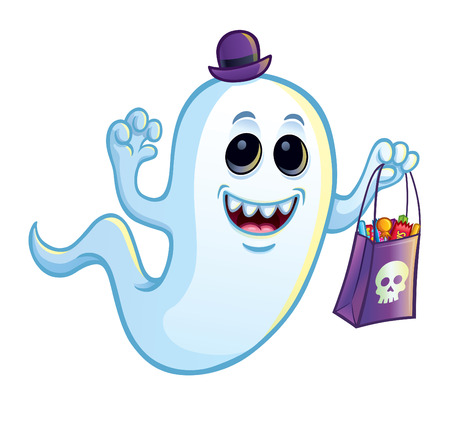 Silly Ghost with Trick or Treat Bag