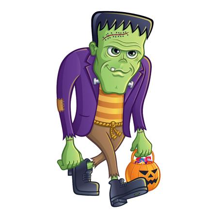 Frankenstein Monster Walking with Pumpkin Pail Vector illustration.