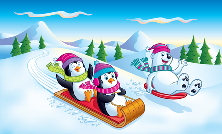 Penguins and Polar Bear Sledding