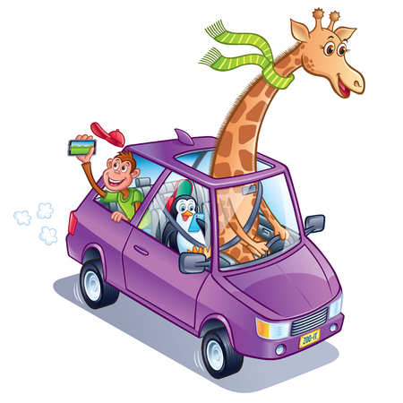 Giraffe Driving A Car with Penguin and Monkey