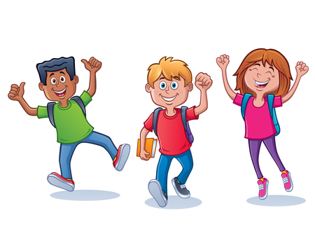 Cartoon of three kids, two boys and a girl, looking and happy and excited about going back to school with backpacks on. 矢量图像