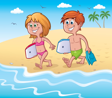Cartoon of a smiling girl and boy with bodyboards at the beach and walking towards the ocean. 矢量图像