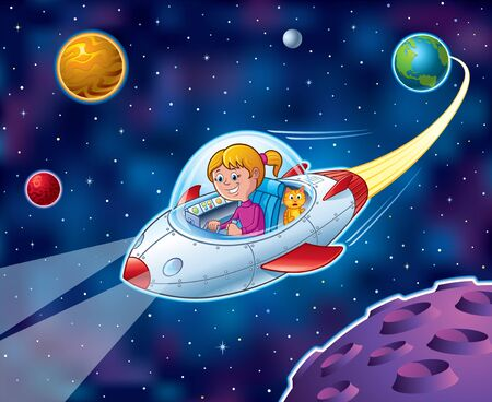 Cartoon of a girl flying from Earth in a spaceship in outer space with stars and planets in the backgound while her cat is looking out the window and looking surprised.
