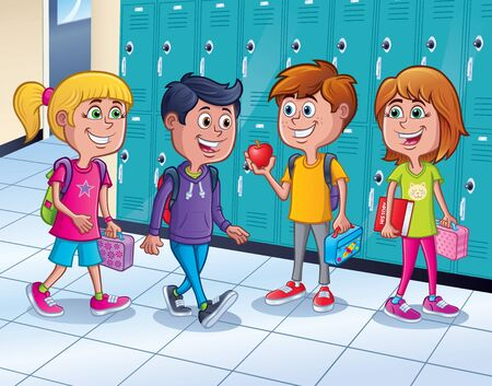 Cartoon of four kids, two girls and two boys, in the hallway of a school standing by the lockers with backpacks and lunches.