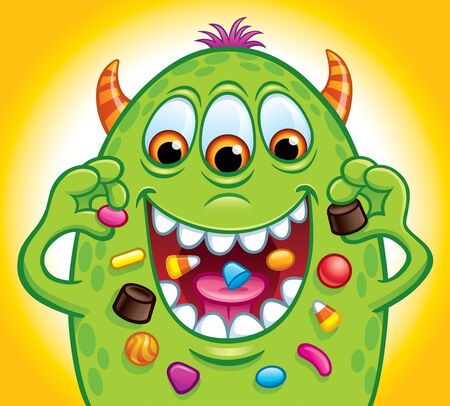Cartoon of a green, three-eyed candy monster with horns that is eating Halloween candy with a toothy smile.