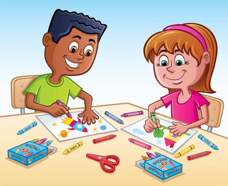 Cartoon of an elementary aged boy and girl that are coloring pictures using crayons.