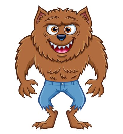 Cartoon of a werewolf character that is standing with ripped pants and grinning wildly with teeth showing in a menacing way.