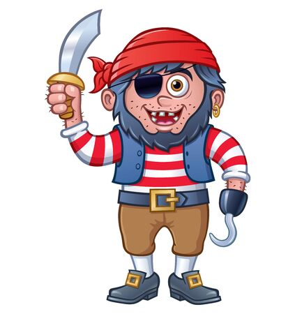 Cartoon of a smiling boy dressed up in a pirate costume including an eye patch, hook, and holding up a sword.