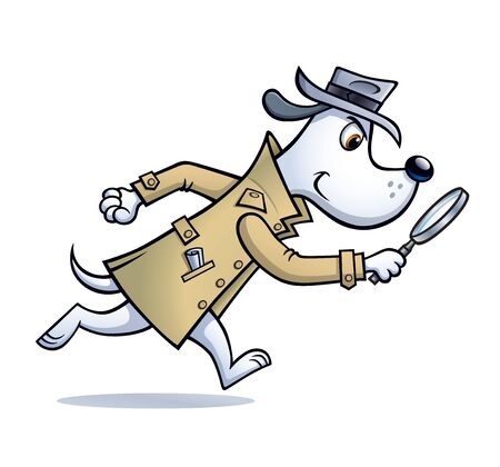 Cartoon of a dog detective character that is looking for clues with a magnifying glass and wearing a raincoat and hat.