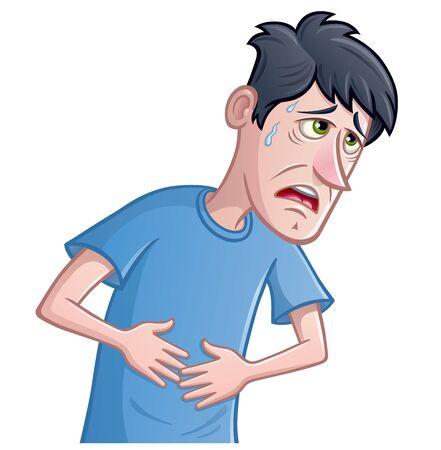 Cartoon of a sick and pale looking man that is holding his stomach with sweat droplettes coming from his forehead.