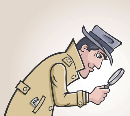 Old style retro police detective in hat and trench coat looking for clues using a magnifying glass.