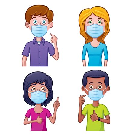 Cartoon of four people wearing face masks for protection against virus and bacteria in the air.