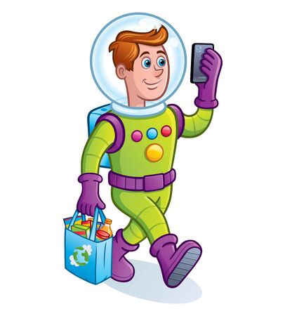 Cartoon of a man wearing a spacesuit for extreme bacterial and virus protection while looking at his cell phone and carrying a bag of groceries using a reusable grocery bag. 矢量图像