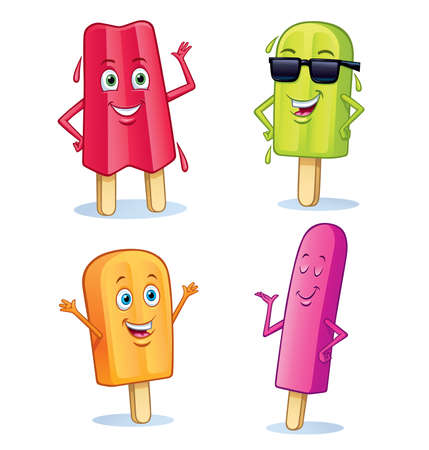 Cartoons of four different fun flavored frozen fruit pop characters, featuring: strawberry, lime, orange, and raspberry.