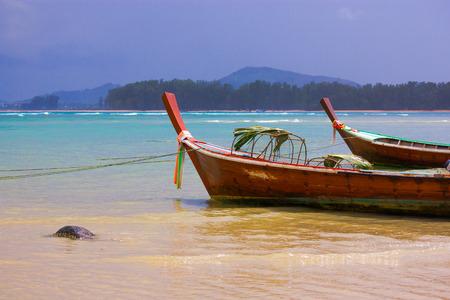 phuket province: Local boats at Naiyang beach, Phuket province, Thailand Stock Photo