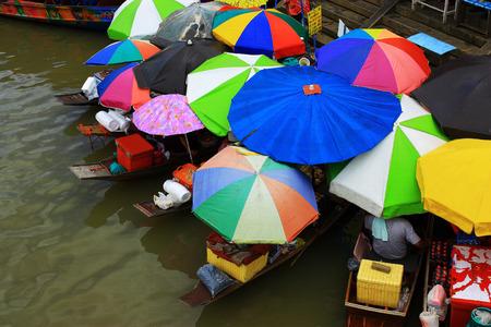 amphawa: The colorful umbrellas at Amphawa Floating Market in Samut Songkhram Thailand. Editorial