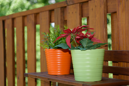 Flower jar over outdoor shelve at suburban balcony