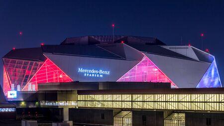 Atlanta, GeorgiaUSA - 07102019 - Long exposure of Mercedes Benz Stadium Publikacyjne