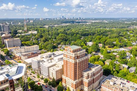 Aerial view Midtown Atlanta and Buckhead in the background