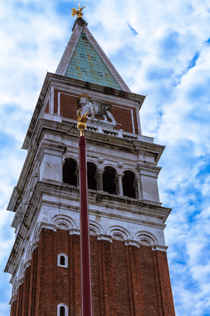Closed up San marco bell tower with blue sky background, the famous place in Venice Stock Photo