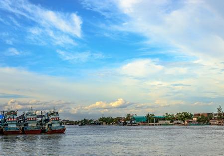 avocation: Three fishing boats moored at the Maeklong river, the place near famous river market, Samut Songkhram, Thailand