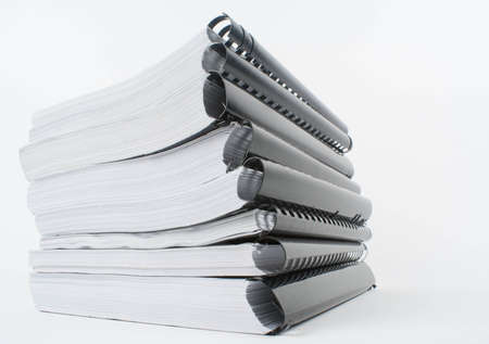 Stack of spiral notebooks photo