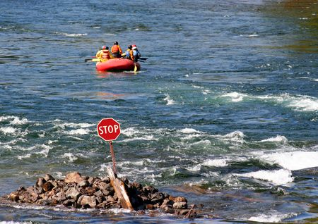 rafters: rafters ignore a stop sign Stock Photo