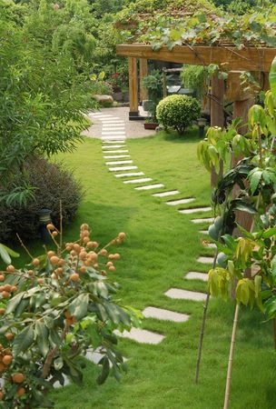 A stone walkway winding its way through a tranquil garden Stock Photo - 2847015