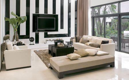 Modern huis, woonkamer met moderne meubels Stockfoto