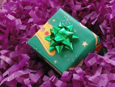 gift box on purple background photo