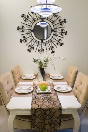 Dinner table setting in a new house. Stock Photo - 3272507
