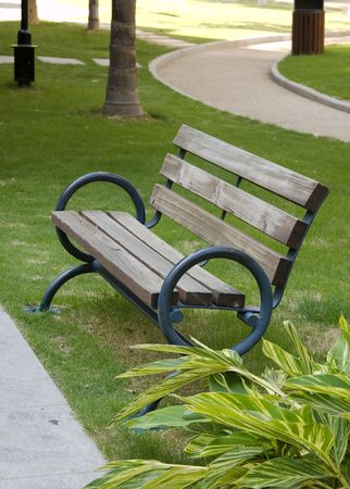 A old wooden bench in the  park Stock Photo - 3290115