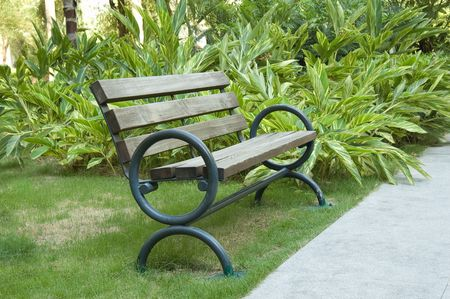 A old wooden bench in the park photo