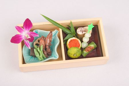 Japanese food containing seafood and vegetables photo