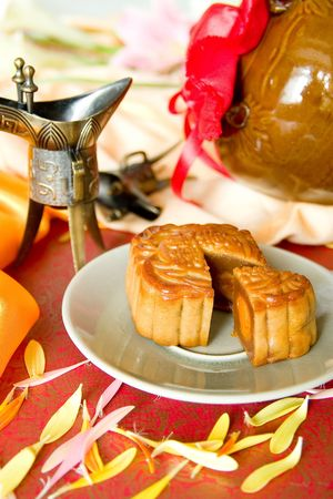 semisweet: Chinese moon cake and tea-- food for Chinese mid-autumn festival