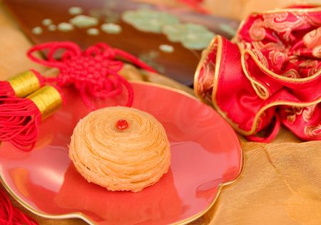 Chinese moon cake and tea-- food for Chinese mid-autumn festival photo