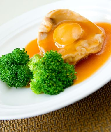 Cooked abalone and vegetable,Chinese food