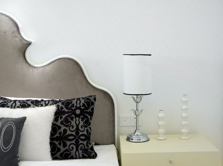 Modern bed room inter -- Lamp and pillows Stock Photo - 3849977