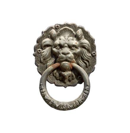 doorknocker: Old style lions head knocker  Stock Photo