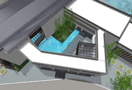 vertical view for a 3d patio with full details  photo