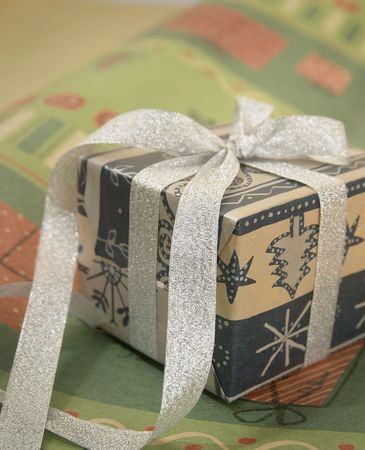 Closeup of gifts wrapped in elegant ribbons.  Stock Photo - 4345184