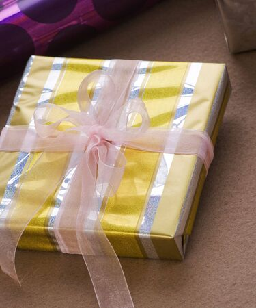 Christmas decoration series,close up shot of  gift boxes in studio Stock Photo - 4381045