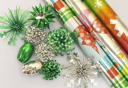 Christmas decoration series,flowers and roll of wrapping paper photo