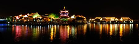 Night scene for old style building in Qilitang,suzhou,China.  photo