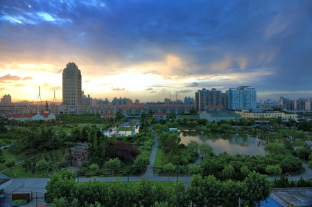 Sunset over City of residential district in Pudong,Shanghai,Chian. photo