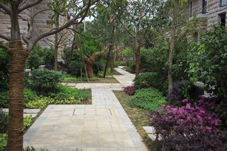 sidewall: Garden with small footpath through  in a residential district Stock Photo