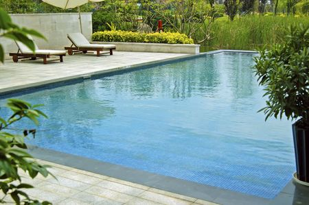 swimmingpool: chaise longue and swimming-pool in a garden