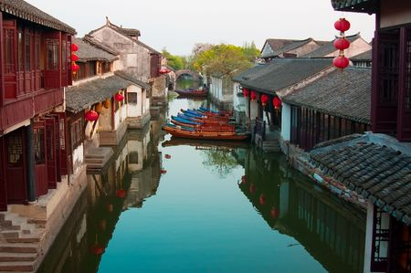 Famous water village Zhouzhuang in Jiangsu ,China. The houses  by the river are built several hundred years ago with  a typical architectural style of the Ming and Qing Dynasties