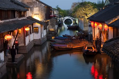 Famous water village Zhouzhuang in Jiangsu ,China. The houses  by the river are built several hundred years ago with a typical architectural style of the Ming and Qing Dynasties Stock Photo - 5048089